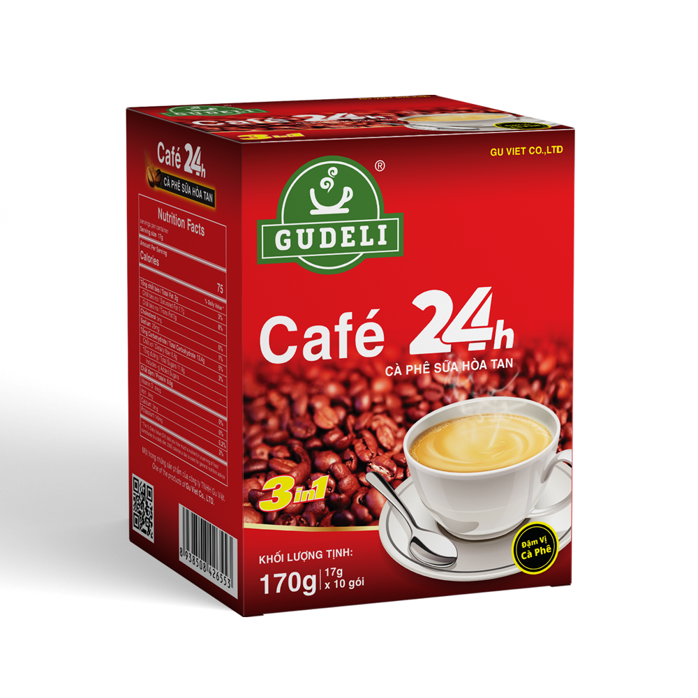 CAFE 24H INSTANT COFFEE 3IN1 BOX 170G